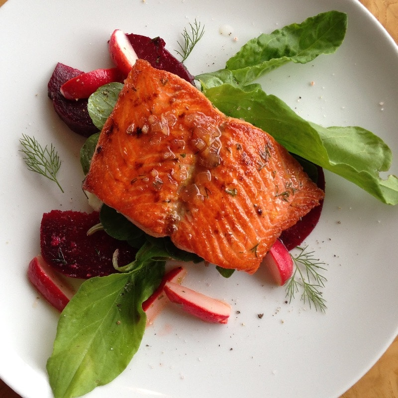 Pan Seared Alaskan Salmon, Pickled Beet, Fresh Sorrel, Dill & White Wine Reduction