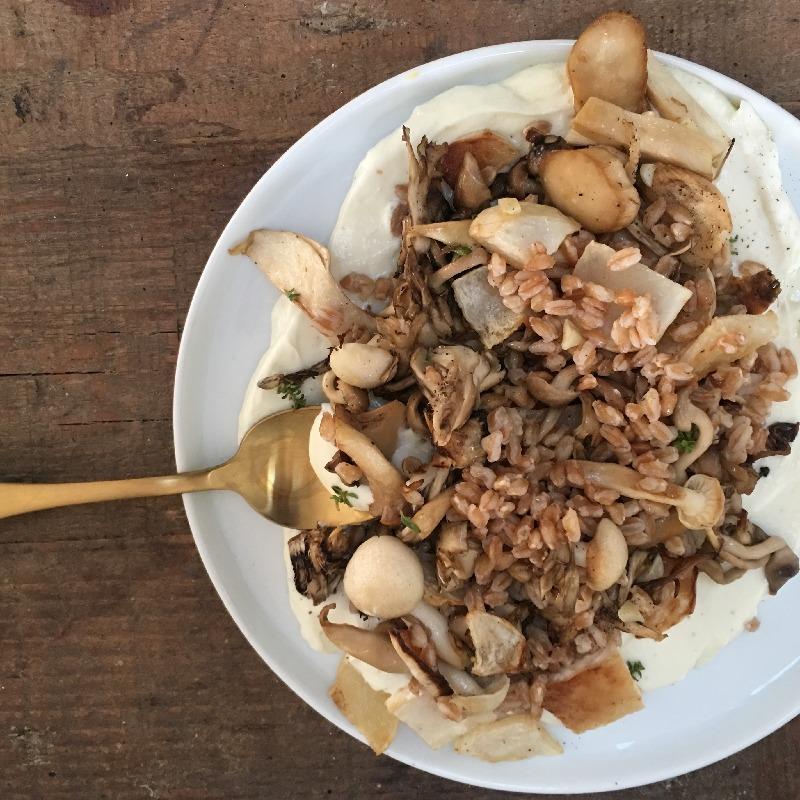 Wild mushroom, sunchoke & barley with tahini puree - table at home - private chef steph