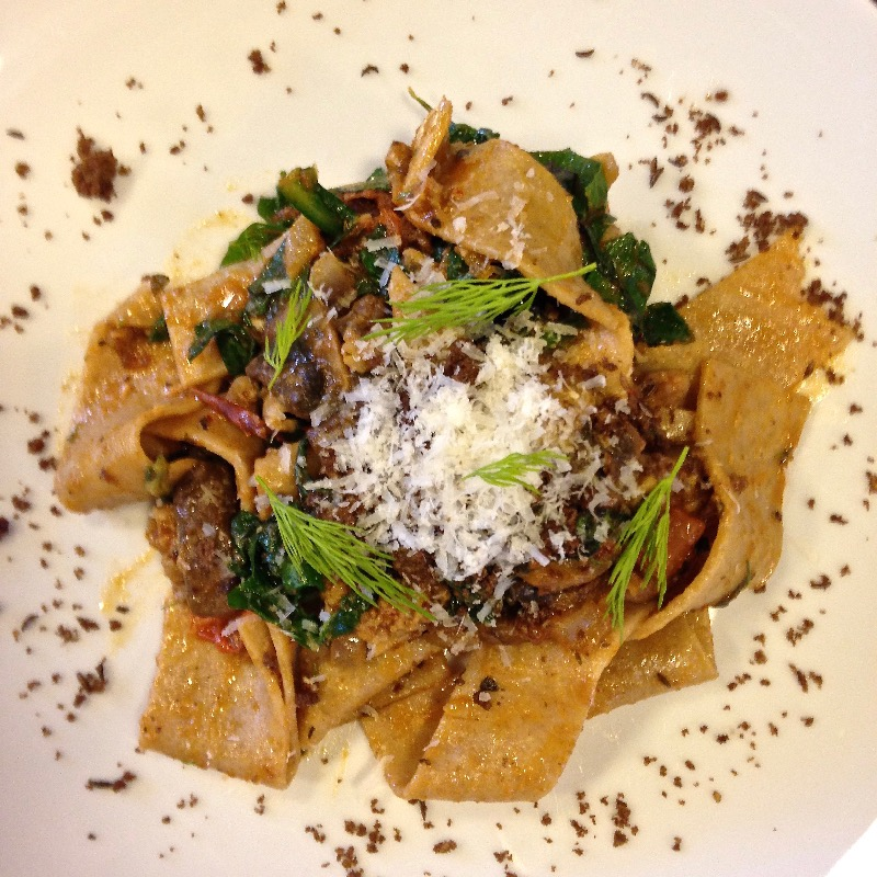 Homemade Pappardelle Pasta w/ Wild Mushroom & Red Wine Braised Short Rib Beef Ragu