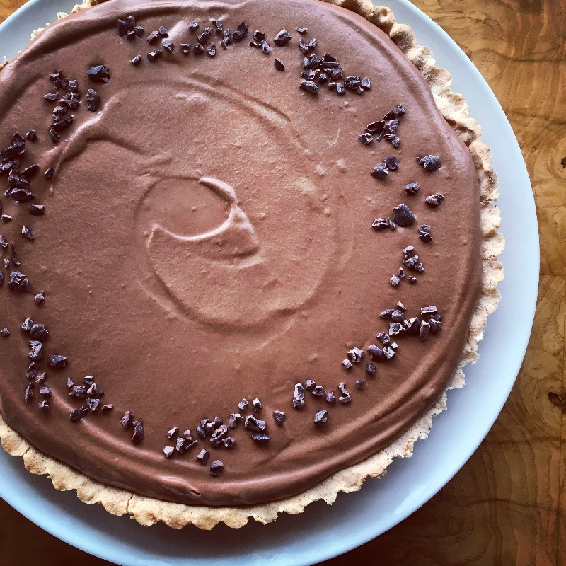 Chocolate Coconut Mousse Tart served w/ Freshly Made Dairy-Free Chocolate Gelato & Toasted Cocoa Nib