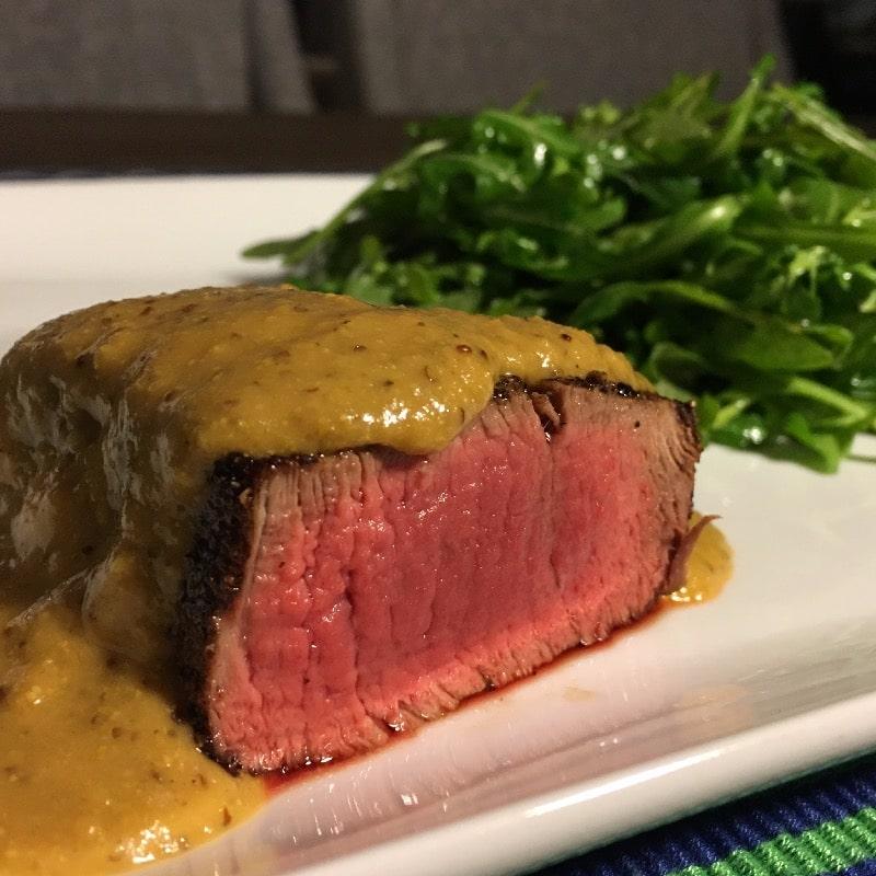 Sous-Vide tenderloin à la Moutarde (sauce and sides would be different)