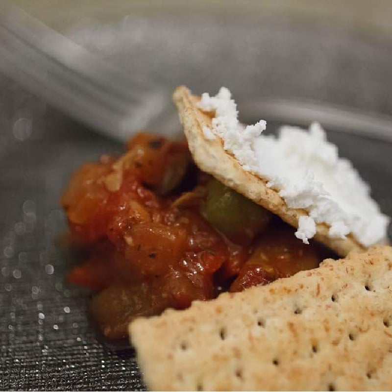 Ratatouille with Chevre and Cracker