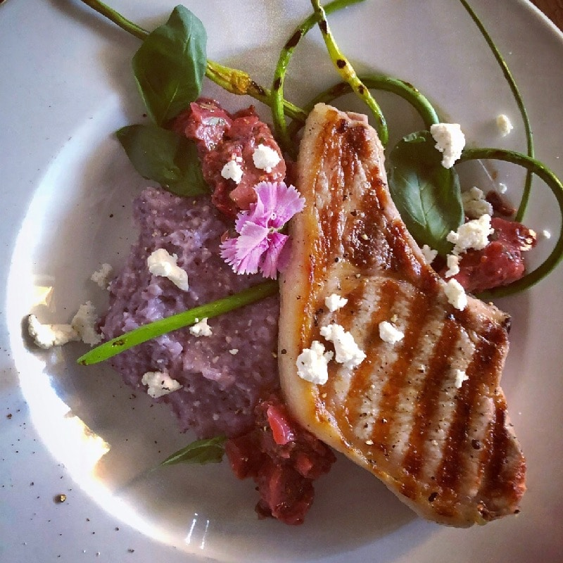 Pan Seared Berkshire Pork Chop w/Seasonal Jam & Creamy Blue Corn Grits