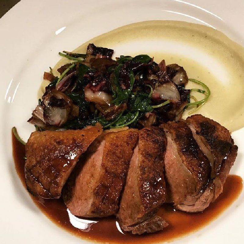 Seared Duck with Mashed Potato & Vegetable Stir Fry