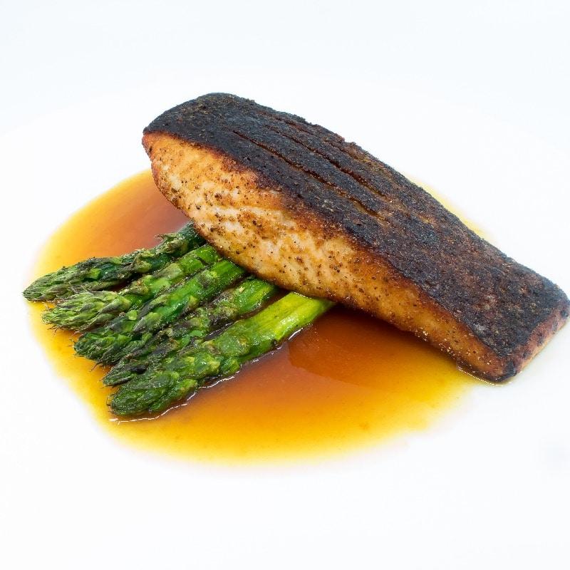Crispy salmon orange dashi