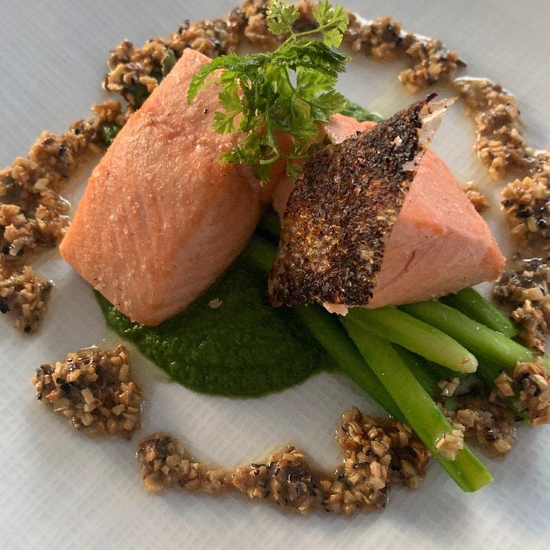 Salt baked Wild king salmon with asparagus black truffle and sunchokes