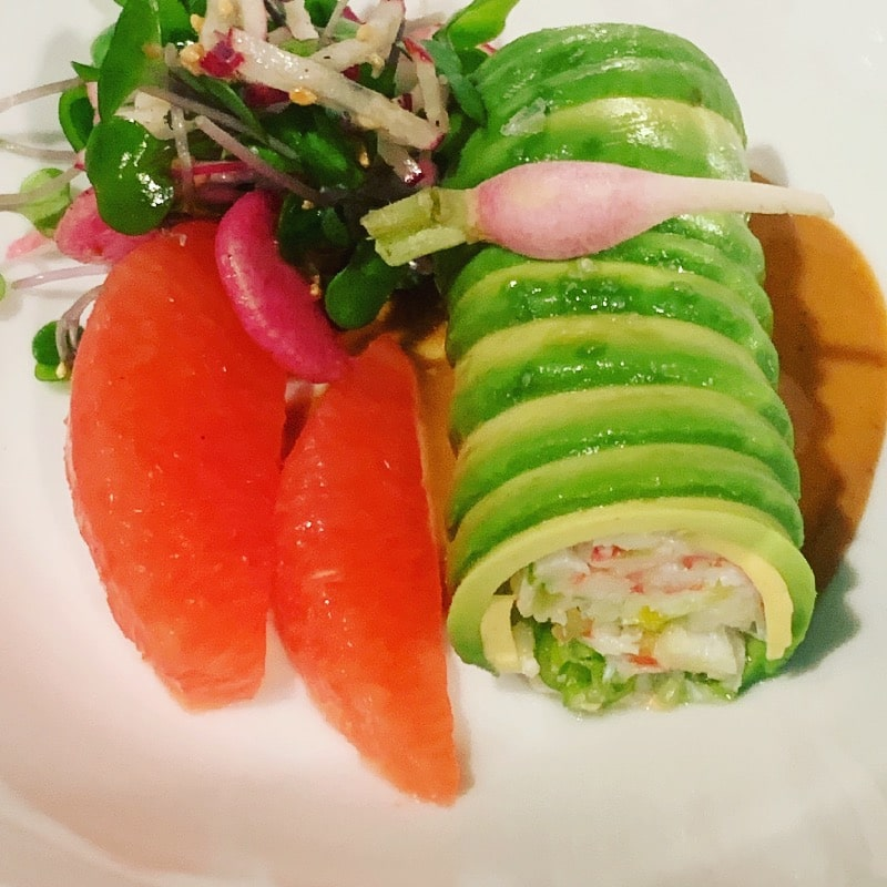 King crab and avocado cannelloni