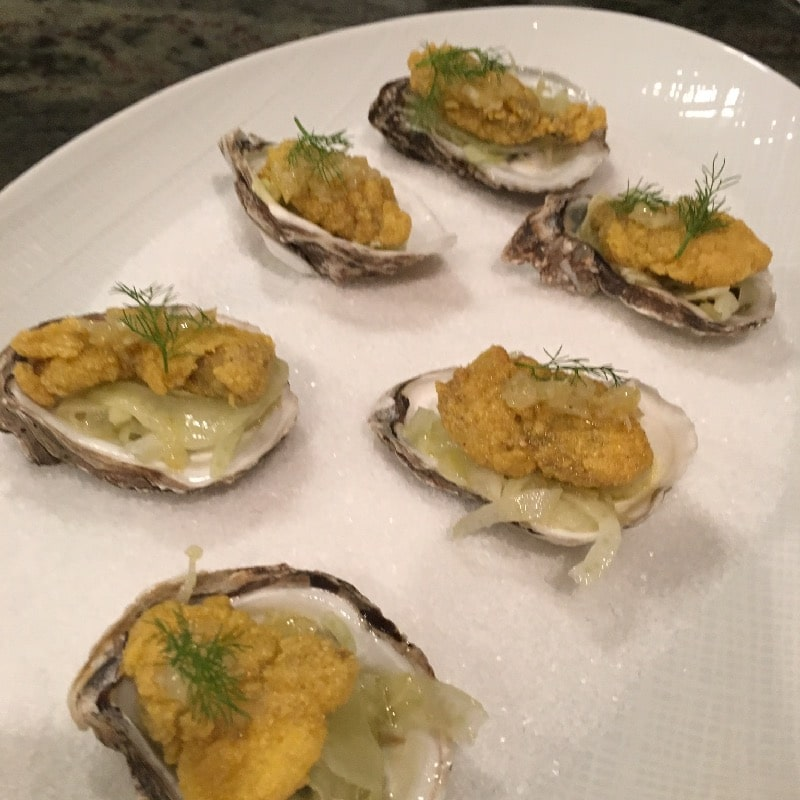 Cornmeal crusted cold water oysters