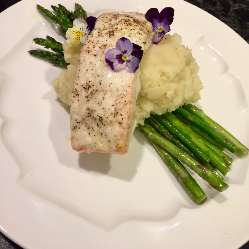 Salmon with horseradish cream (pictured with mashed yukon)