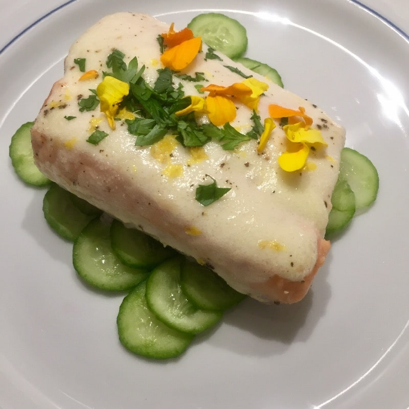 Salmon (pictured with english cucumber)