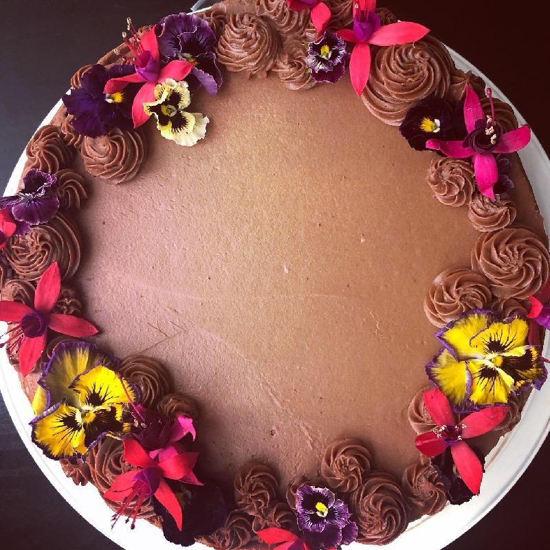 Layered Dark Chocolate & Red Wine Cake