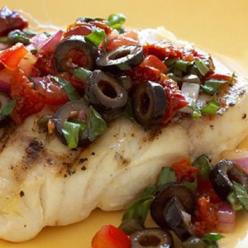 Sea bass with black olive salsa
