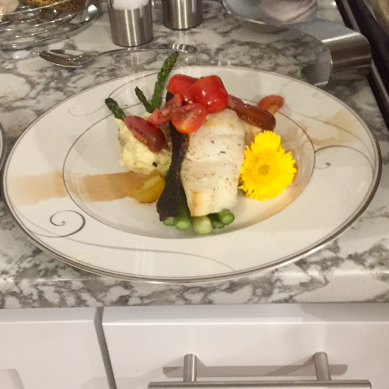 Chilean sea bass (pictured with duck fat mashed yukon and asparagus)