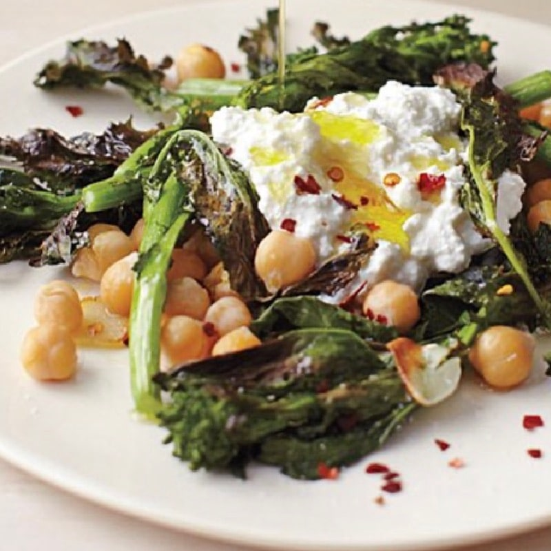 Homemade Whipped Ricotta with a Salad of Arugula, Charred Broccolini & Chickpeas; Tossed in a Basil Thyme Vinaigrette