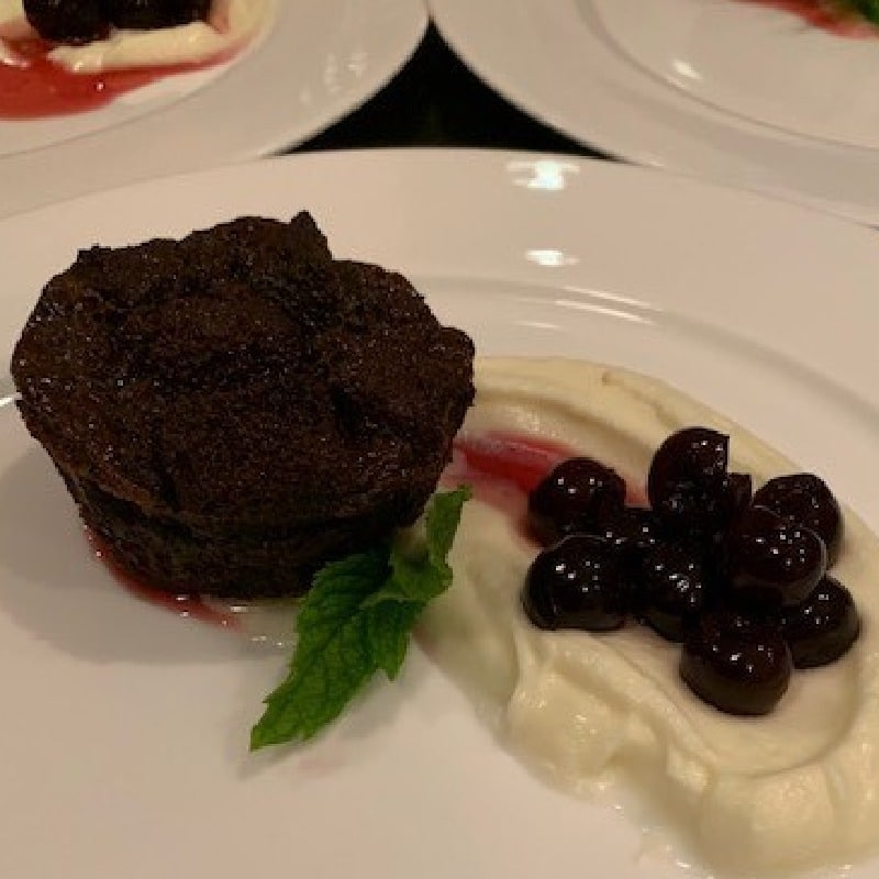 Chocolate Bread Pudding with Mascarpone Cream & Dark Cherries