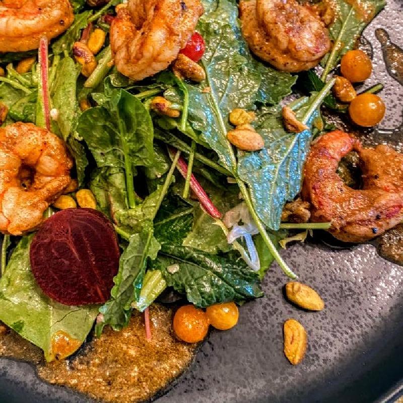 Piri Piri Shrimp pictured with Salad