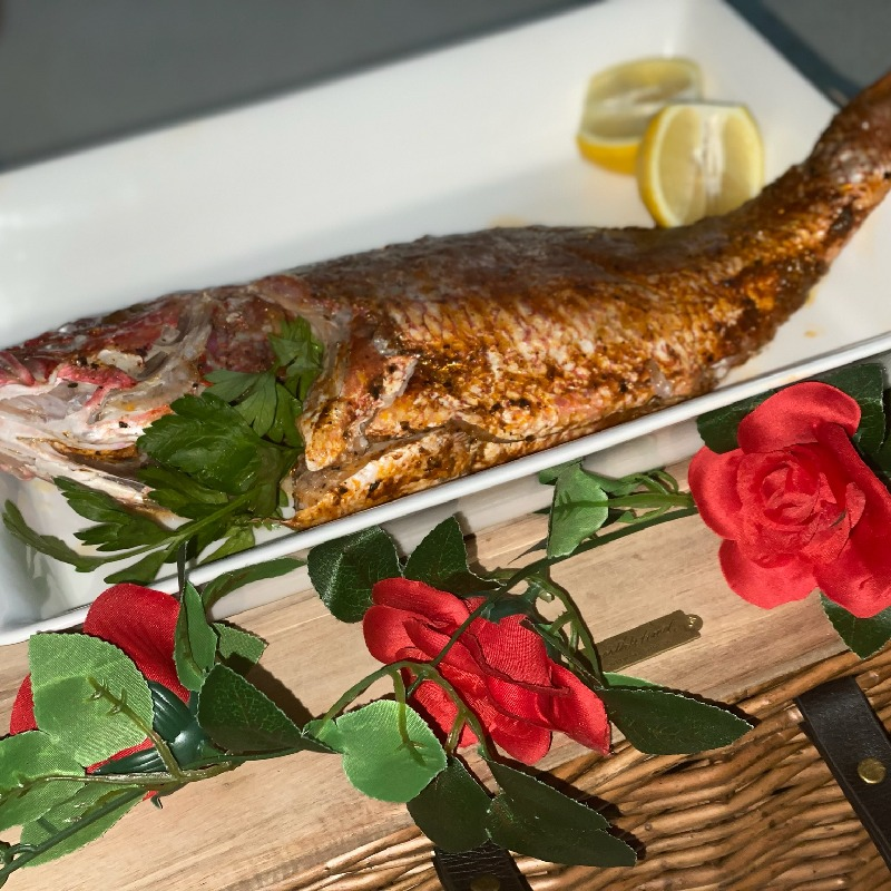 Harrisa Rubbed Baked Red Snapper
