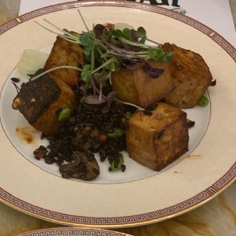 Miso Glazed Tofu with Forbidden Black Rice & Bok Choy