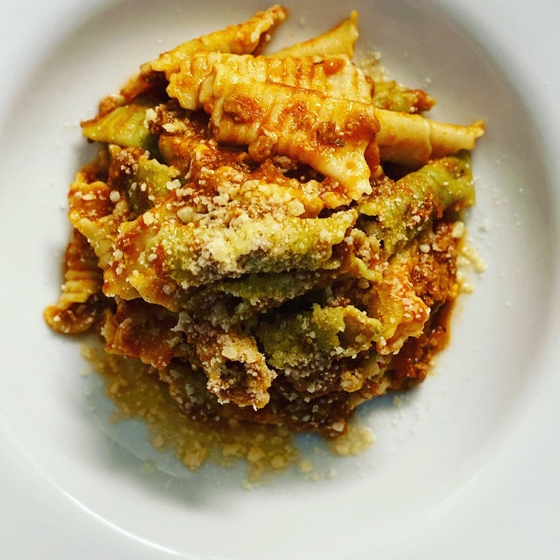 Home made garganelli in ragout sauce