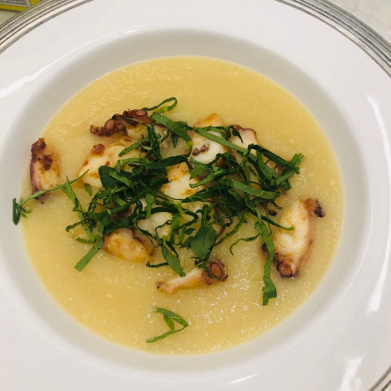 Celery root soup charred octopus