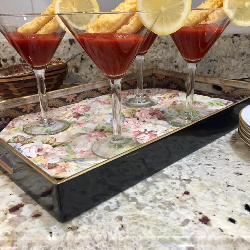 "Tempura shrimp ""martini"""