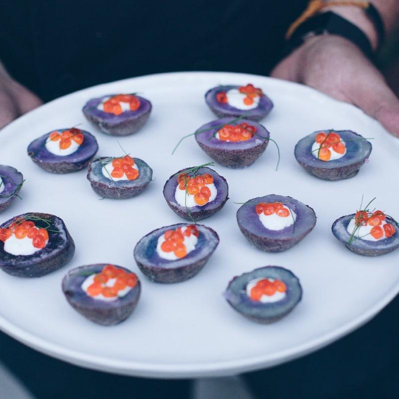 Salmon Roe, Creme Fraiche, Purple Peruvian Potato