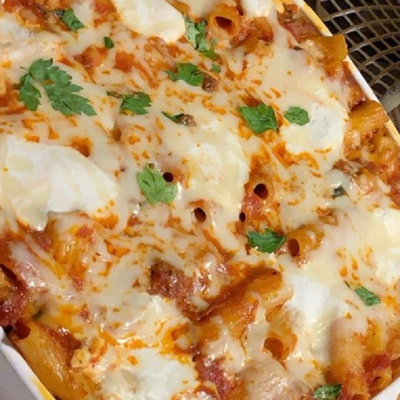 Homemade baked ziti Italian style